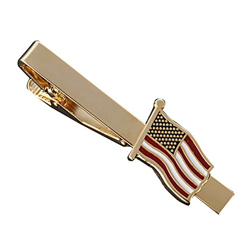 MGStyle Tie Bar Pinch Cilp For Men - 2.16 Inch For Regular Ties - the Old Glory Stars & Stripes American Flag - Gold Tone - Stainless Steel with Deluxe Gift Box by MGStyle