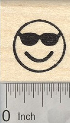 Cool Emoji Rubber Stamp, Smiling Face with Sunglasses (Sunglasses Rubber Stamp)