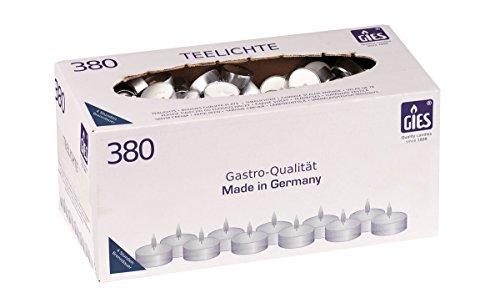 Gies 205-419001-10 Teelichte, Durchmesser 38 mm, in Metallhülsen, 380-er Karton, weiß