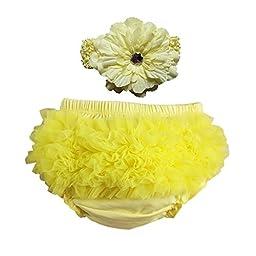 Wennikids Newborn Lime Headband and Matching Ruffle Diaper Cover Set (S(0-6M), Yellow)