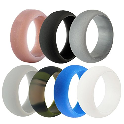 LIANTSH Silicone Wedding Rings Band for Men - 7 Pack - 8.7mm Wide(2mm Thick)-Comes with a Gift Box - Copper,Black,Light Grey,Deep Grey,Olive Green,Blue,White (8.5-9(18.9mm))
