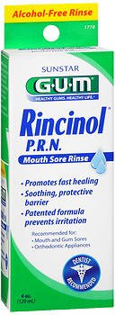 GUM Rincinol P.R.N. Mouth Sore Rinse - 4 fl oz, Pack of 5