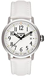 Traser Classic Basic Watch with Leather Strap - White