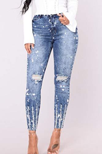 A Femmes Jean Haute Blue De Pantalons Taille en Trou Yacun Pantalons Slim dqx4wdBY