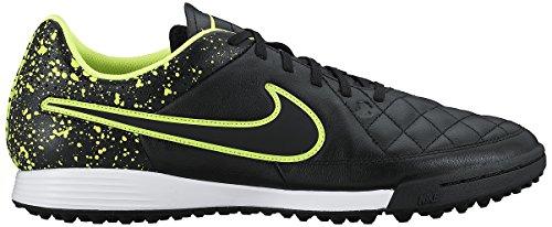 Nike Tiempo Genio Leather Tf, Botas de Fútbol para Hombre Negro / Verde (Black / Black-Volt)
