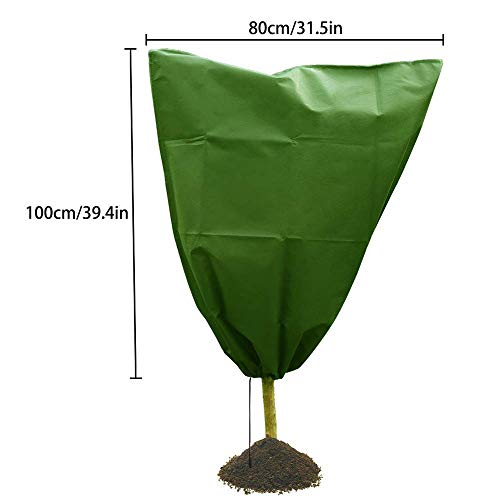 Plant Winter Wrap Frost Protection 31'' x 39'' Non-woven + Environmental PVC Plant Covers for Cold Weather Warm Cover Tree Shrub Plant Protecting Bag (1 Pack) by TLT Retail (Image #2)