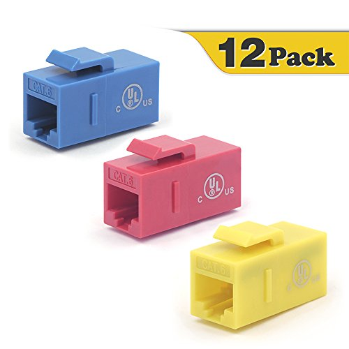 ([UL Listed] VCE 12-Pack CAT6 Keystone Coupler,RJ45 Female to Female Insert Coupler, UTP Keystone Inline Coupler(Blue+Red+Yellow))
