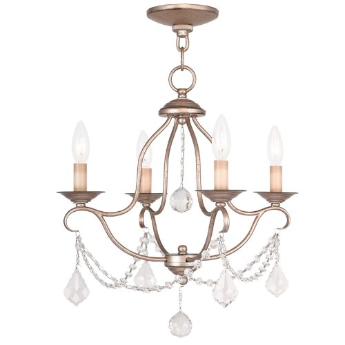 Livex Lighting 6424-73 Chesterfield 4 Light Mini Chandelier, Hand Painted Antique Silver Leaf