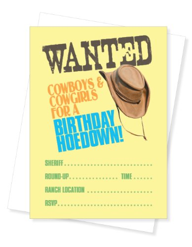 Wanted Western Cowboy Themed Fill-In Party Invite, Set of 10 Invitations -