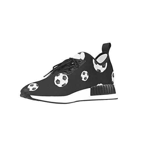 Interestprint Noir Et Blanc Ballon De Football Modèle Draco Hommes Baskets Fitness Formateur Chaussures De Course