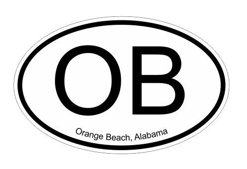 OB Orange Beach Alabama oval Vinyl Decal Sticker Alabama Oval Sticker Decal