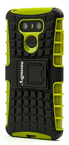 (LG G6 2017 Case, Maxessory Green Offroad Shock-Proof Rugged Dual-Layer Armor Rigid Ultra-Slim Kickstand Protective Hard Tough Hybrid Phone Cover Shell)