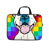 Checkerboard Paiting Pitbull Dog Smile 17inch Laptop Sleeve Case Protective Bag Notebook Carrying Case Handbag Ultraportable Notebook Computer Pocket Case
