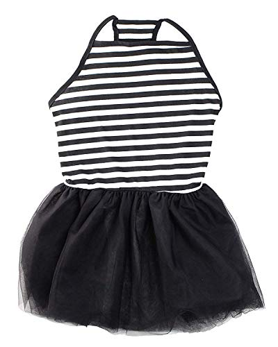 Image of Midlee Elegant Black & White Stripe Tutu Large Dog Dress (XX-Large)