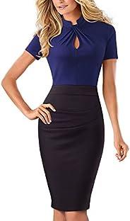 HOMEYEE Women's Short Sleeve Business Church Dress