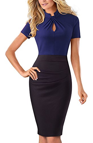 HOMEYEE Women's Short Sleeve Business Church Dress B430 (4, Dark Blue)