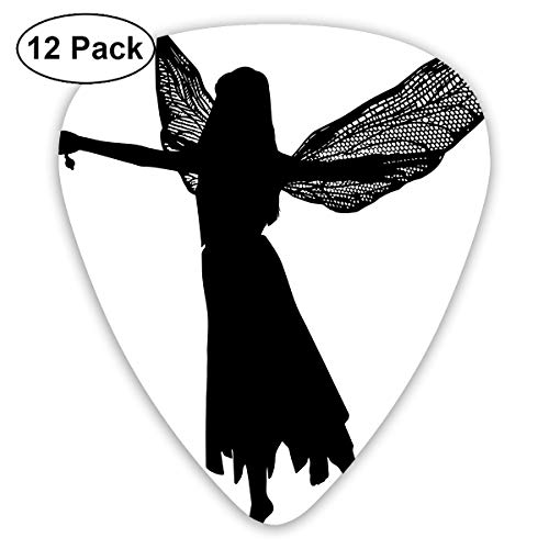 HAIDILUN Fairy Silhouette Clip Art Guitar Picks Plectrums Acoustic Guitar Ukulele Picks 0.46 Mm, 0.73mm, 0.96 Mm,12 Pack -