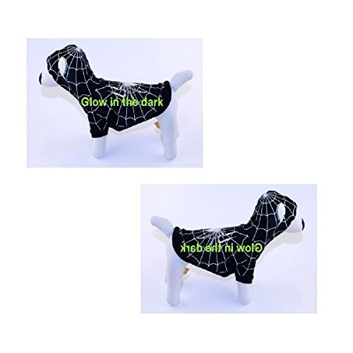 Spiderdog Costumes (Dog Costume SPIDERDOG BLACK COSTUMES Glow in the Dark Dogs Outfit(Size 5))