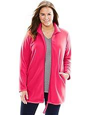 Woman Within Women's Plus Size Zip-Front Microfleece Jacket