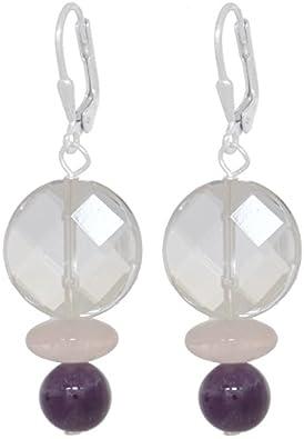ERCE cristal de roca - amatista - cuarzo rosa piedras semipreciosas pendientes, plata de ley 925