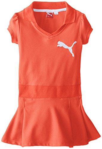 Puma Little Girls' Polo Pique Racing Dress, Hot Coral, 6X