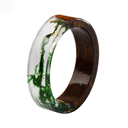 Acchen Real Pressed Flower Dried Flower Resin Wooden Ring Finger Rings Size 18mm
