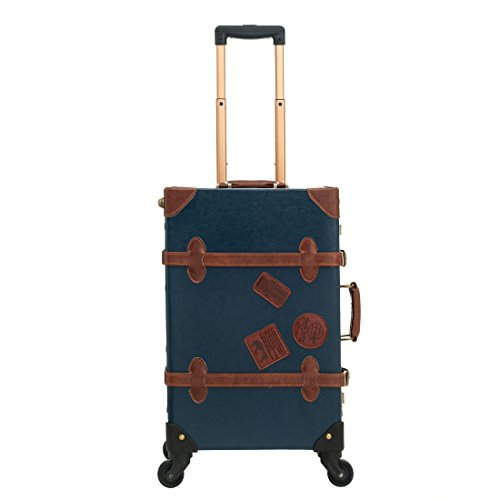 UNIWALKER Women Blue Old Vintage Trunk Luggage TSA Small Travel Suitcase for Men (26