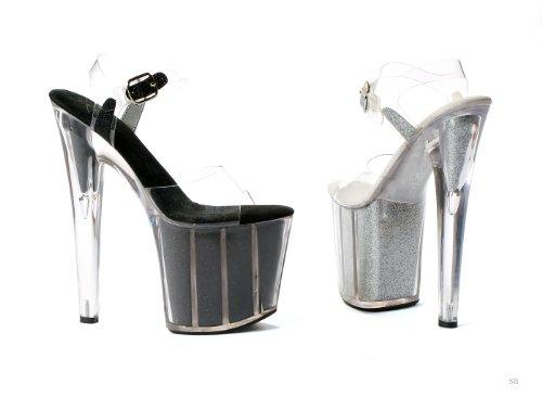 Scarpe Ellie Donna Sandalo Stiletto A Punta 8 Pollici Con Glitter In Plateau Argento
