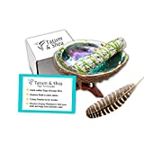 Smudging Kit with Abalone Shell, Wooden Tripod, White Sage Smudge Stick, Turkey Feather (Full Size)