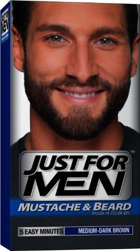 Just for Men Brush-In Gel de couleur pour moustache, barbe et Pattes, Moyen-Dark Brown M-40, 1 kit (pack de 3)