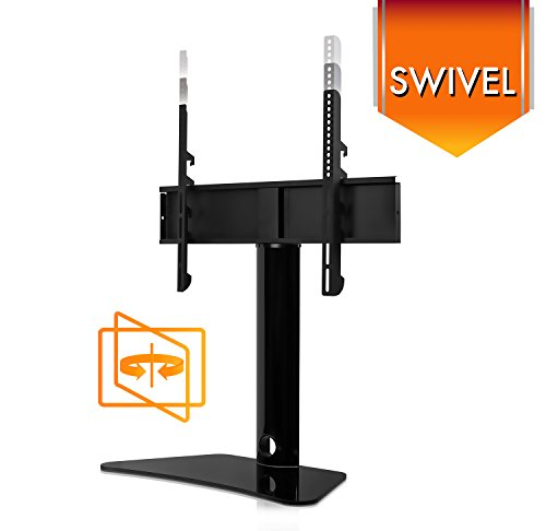 Mount-It! Universal TV Swivel Stand Tabletop TV Mount Bracket Fits 32, 37, 40, 47, 50, 55 Inch TVs, Height Adjustable, VESA 400x400, Black (MI-844)