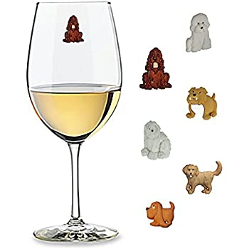 Big Dog Wine Charms Set of 6 Magnetic Drink Markers & Tags for Stemless Glasses, Champagne Flutes and More