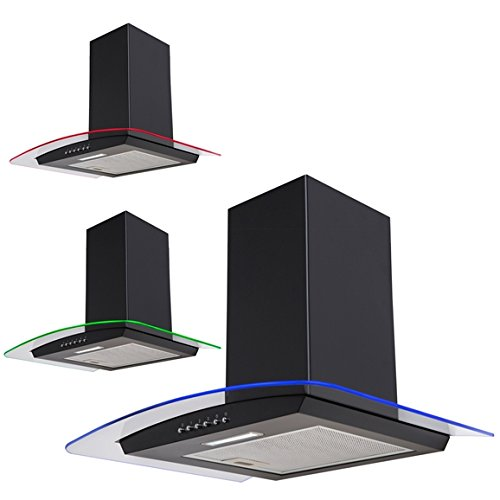 SIA CPLE61BL 60cm 3 Colour LED Curved Glass Black Cooker Hood Extractor Fan