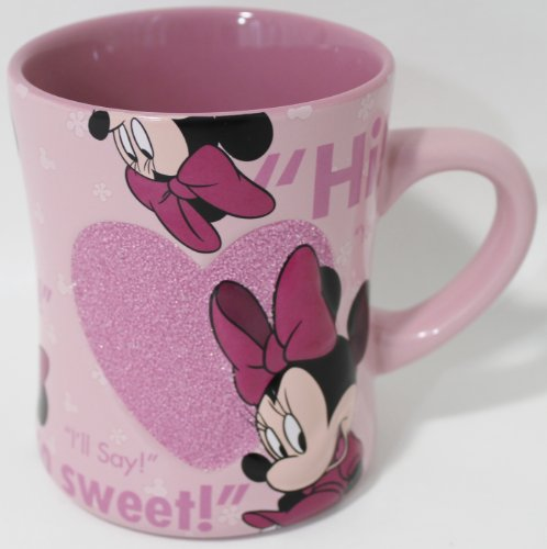 Disney Parks Exclusive Minnie Mouse Glass Beaded Ceramic Pink Quotes Coffee (Walt Disney World Coffee)