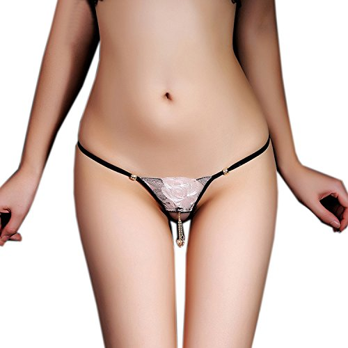 SS Queen Women Sexy Lace G-string Crotchless Underwear Embroidered Pendant Panties (Embroidered Open Thong)
