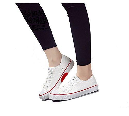Amint Chaussures De Toile Coupe-bas Unisexe Chaussures De Sport Ups Dentelle Baskets Mode Formateurs Occasionnels Pour Les Hommes Et Les Femmes Blanches-06