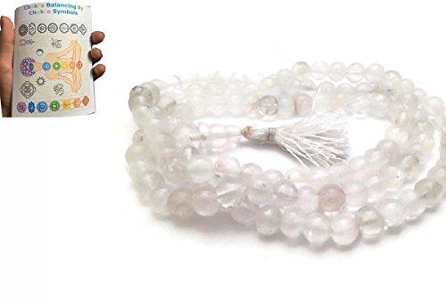 (Quartz Crystal Diamond Cut (108+1)Beads 6-7mm Hand Knotted Mala Beads)