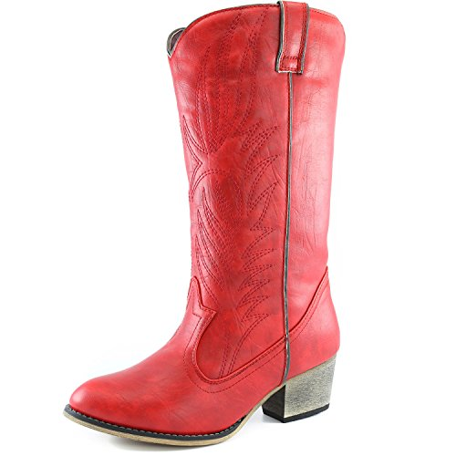 Pocket High Cowboy Western Knee Toe Side Zipper w Mid Boot up Legend Pull DailyShoes Calf Boots Embroidered Pointed Women's Red wPv6PHqR