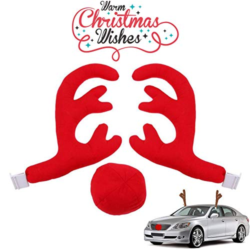 Car Reindeer Antlers & Nose with Jingle Bell Window Roof-Top Grille Rudolph Reindeer Vehicle Christmas Costume Auto Accessories (D)