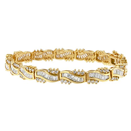 Mia's Collection 14K Yellow Gold (5 3/4ct.TDW) Round and Baguette Diamond Wave Bracelet (H-I, SI1-SI2)