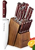 Knife Set, Kitchen Knife Set with Block Wooden, Manual Sharpening for Chef Knife Set, German Stainless Steel, Emojoy (15 Piece Knife Set)