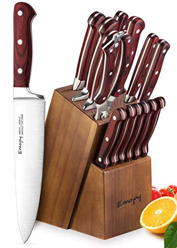 Knife Set, Kitchen Knife Set with Block Wooden, Manual Sharpening for Chef Knife Set, German Stainless Steel, Emojoy (15 piece Knife Set) by Emojoy