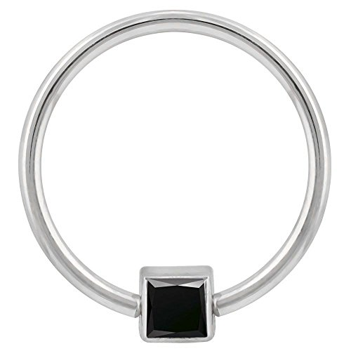 FreshTrends Black Cubic Zirconia Side Bezel 14K White Gold Captive Bead Ring 16G 7/16