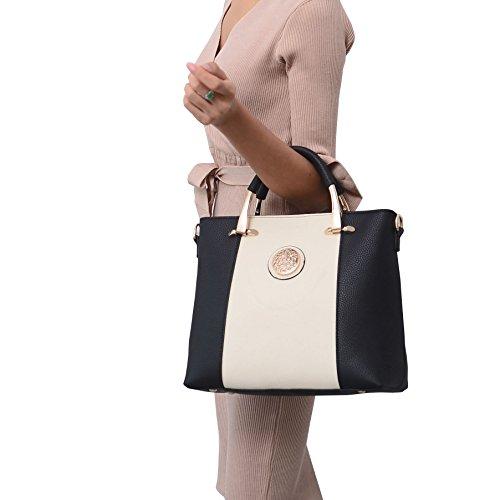 Noir 310×120×270 épaule Blanc portés Sacs style main Cuir Nouveau Sacs portés PU mm VS862 DISSA OBwz55