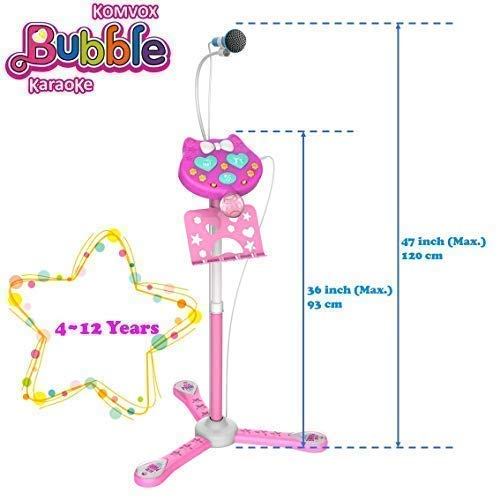 KOMVOX Kids Karaoke Microphone with Stand, Girls Karaoke Machines with Bubble Function, 4 5 6 7 8 Year Old Girls Toy, Birthday Gifts for Girls Children's Microhpnes for Singing by KOMVOX (Image #5)