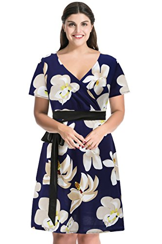 MYFEEL Plus Size Floral Tie Waist Crossover V neckline Short Sleeve Occassion Dress(3X Blue) (Plus Size Fairy Dress)