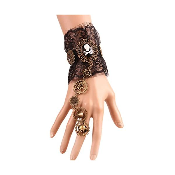 Charm.L Grace Gothic Black White Lace Bracelet Steampunk Vampire Slave Flowers Wristband Ring Wedding Accessories 3