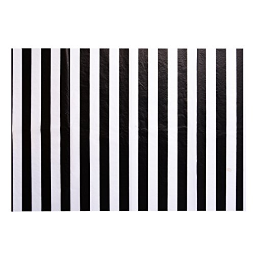 Black Metallic Stripe (Shappy Stripes Tissue Paper Stripes Wrapping Paper, 28 Inch by 20 Inch, 30 Sheets (black and white))