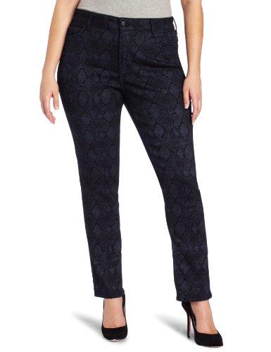 Metallic Print Jeans (NYDJ Women's Plus Size Sheri Slim Metallic Print Jeans, Indigo, 22W)
