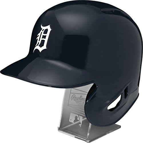 Rawlings MLB Detroit Tigers Replica Batting Helmet with Engraved Stand, Official Size, Blue (Tigers Batting)